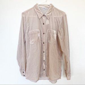 (NWT) Splendid   Moonstone Velvet Shirt in Almond